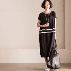 Korean Style Short Sleeve Lantern Long Dress Summer Women Clothes
