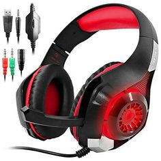 GM1 Gaming Headset for New Xbox One PS4 PC Tablet Cellphone Stereo LED Backlit Headphone with Mic by AFUNTARed *** Check out this great product.Note:It is affiliate link to Amazon.