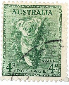 Australia, koala - (a lighter green version of an otherwise duplicate pin elsewhere on this board. If you know which is the coloring closer to the original, please let me know in a comment. Old Stamps, Vintage Stamps, Postage Stamp Art, Australian Animals, Thinking Day, Stamp Collecting, Mail Art, My Stamp, Prints
