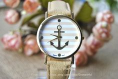Anchor Watch Nautical watch Vintage Style Light Brown by Evanworld, $6.50 Fashion handmade personalized watches, best gift