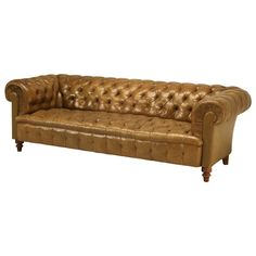 Original Unrestored Chesterfield Tufted Leather Sofa