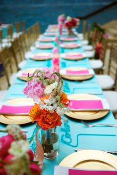 Fuchsia. gold. teal. Photography by ashleygarmonphoto.com  Read more - http://www.stylemepretty.com/2013/09/04/austin-wedding-at-the-blanton-art-museum-from-ashley-garmon-photograpers/