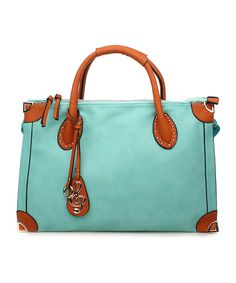 Amore Blue Irma Tote | zulily16.5'' W x 11'' H x 4.5'' D 4.5'' handle drop 48'' max. strap drop Man-made Zip closure Interior pockets Removable and adjustable crossbody strap Imported