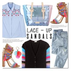 """""""Strapped In: Lace-Up Sandals"""" by bibibaubau ❤ liked on Polyvore featuring Yves Saint Laurent, Schutz, Arche, Peter Pilotto, Wrap, J&C JackyCeline, Kate Spade, contestentry, laceupsandals and PVStyleInsiderContest"""