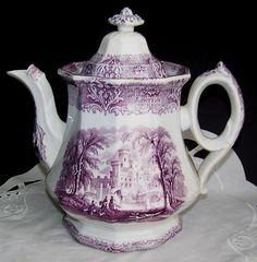 Antique White Ironstone Purple Transferware Staffordshire Teapot.