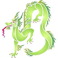 """Dragon Stencil - (size 10.5""""w x 10.5""""h) Reusable Wall Stencils for Painting - Best Quality Chinese Dragon Wall Stencil Ideas - Use on Walls, Floors, Fabrics, Glass, Wood, Terracotta, and More..."""