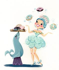 Juggling acts are much better with yummy donuts! :D This is an 8x10 digital print of an original gouache painting. It will come printed on Epson Velvet