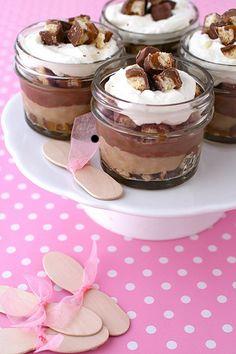 mini twix trifles. All I pin is chocolate.