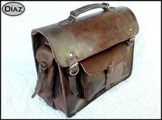 Dark Brown Rawhide Leather Messenger Laptop Satchel by DiazBags, $180.00 - nice slightly rougher look