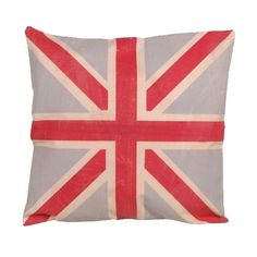 housse de coussin en toile jute avec motif drapeau anglais. Black Bedroom Furniture Sets. Home Design Ideas