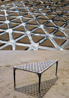 using the sand and sea as an organic canvas, london based designer max lamb has formed 'pewter desk' from molten metal laid into the surface of the earth. Metal Projects, Welding Projects, Metal Crafts, Cool Furniture, Furniture Design, Deco Boheme Chic, Concrete Art, Metal Casting, Sand Casting Aluminum