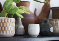 Love studio pottery paired with cacti.