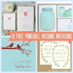 10 Free Printable Wedding Invitations--or use the designs for other things #printable