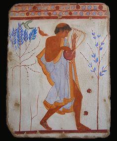 Lyre Player, Tarquinia - The Art of the Fresco Ancient Egypt Art, Ancient Greek Art, Ancient Greece, Ancient History, Art History, Fresco, Atlantis, Minoan Art, Mediterranean Art