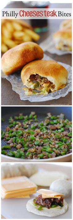 Philly Cheesesteak Bites are delicious refrigerated biscuits stuffed with roast beef, cheese, onions and peppers!