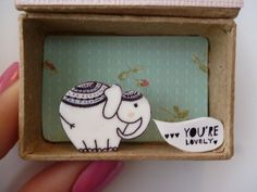 I Think You're Lovely Circus Elephant Diorama Message box