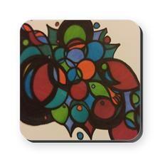 Rainbow Grapes Square Coaster