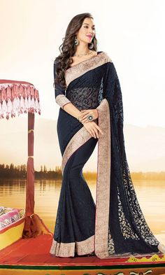 Shop Black Georgette Fabric Heavy Embroidered Blouse Party wear Saree Online at IshiMaya Fashion - SAEBRVS7180