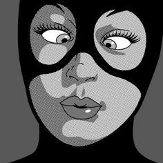 Catwoman pop art, black and white