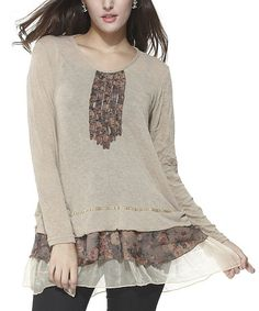 Another great find on #zulily! Tan Floral Scoop Neck Tunic by Simply Couture #zulilyfinds