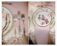 Romantic French garden wedding inspiration | Styled Shoots | 100 Layer Cake ruffled tablecloth and vintage plates, silverware