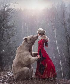 Beauty and the Bear by Margarita Kareva on Beautiful Creatures, Animals Beautiful, Cute Animals, Foto Fantasy, Fantasy Art, Fantasy Photography, Animal Photography, Editorial Photography, Illustration Photo