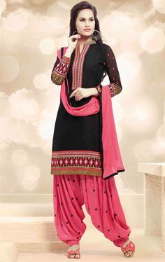 0bac75e47e Picture of Black and Pink Patiala Salwar Kameez Punjabi Dress, Punjabi Salwar  Suits, Patiala