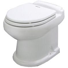 Dometic 8743 Standard-Height, Flat-Back, All-Ceramic Macerator Toilet - 12V - White