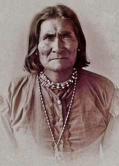 This photo of Geronimo was taken in 1886, when was a prisoner at Ft. Sam Houston or at Mt. Vernon Barracks, Alabama.