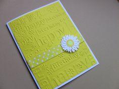 Daisy Happy Birthday Card, Yellow and White, Blank, Handmade, Embossed Birthday Card, Polka Dot Ribbon, Handmade Birthday Card