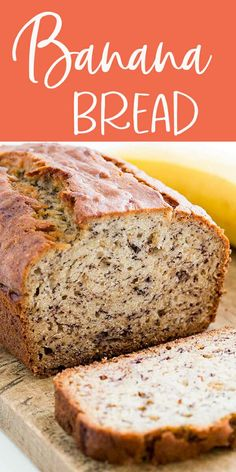 Banana Bread - Moist and delicious banana bread recipe. Easy to make no need for a mixer! Ripe bananas butter sugar egg vanilla baking soda and flour. Köstliche Desserts, Delicious Desserts, Dessert Recipes, Yummy Food, Tasty, Dinner Recipes, Delicious Chocolate, Easy Bread Recipes, Banana Bread Recipes