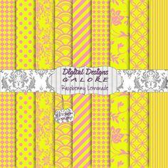 Raspberry Lemonade Digital Paper Pack Set by DigitalDesignsGalore, $3.99  #digital #paper #pink #yellow #summertime