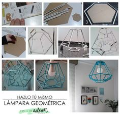 DIY upcycle magazine in to a lamp / lámpara geométrica reciclando revista
