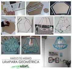 DIY upcycle magazine in to a lamp / lámpara geométrica reciclando revista