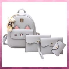 Retro Backpack, Diy Backpack, Laptop Backpack, Leather Backpack, Fashion Bags, Fashion Backpack, Cartoon Girls, Rabbit Ears, Backpacking Gear
