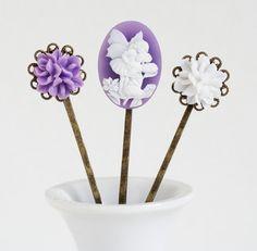 Girls Hair Pins  Purple and White Bobby Pins by JacarandaDesigns