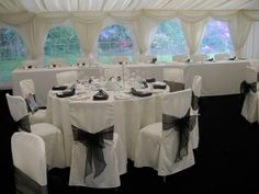 White chair cover with black sash  - #marqueehireuk #marqueehire #Notts #Derby #Leicester #weddings #corporate #events