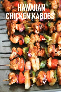 Hawaiian BBQ Chicken Kabobs with fresh pineapple, peppers and onions grilled and basted in a sweet and tangy barbecue glaze. How to make Kabobs everyone loves! Chicken Kabob Recipes, Grilling Recipes, Cooking Recipes, Healthy Recipes, Amish Recipes, Yummy Recipes, Healthy Food, Healthy Eating, Hawaiian Chicken Kabobs