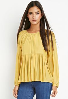 FOREVER 21 Yellow Peasant Blouse