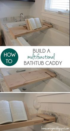 Bathtub caddy with built in book holder!