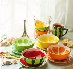 Korean creative ceramic tableware suit hand-painted lovely fruit bowl + spoon+ plate 3pcs/lot