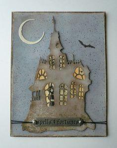 My Kinda Art: spells & fortunes Halloween Paper Crafts, Halloween Tags, Halloween Projects, Halloween Themes, Vintage Halloween, Fall Halloween, Halloween Stuff, Fall Cards, Paper Decorations