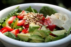 salad-- Lettuce, cucumbers, sunflower seeds, strawberries, tofu, avocados