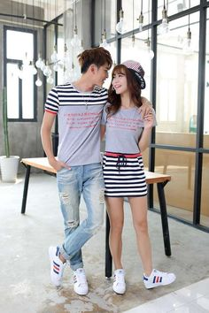 Korean Summer Embroidery Casual Short Sleeve Striped Sheath Couple Clothing Gray