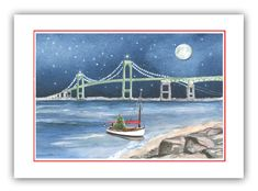 Items similar to Newport bridge Christmas cards- Newport RI Christmas cards- Rhode Island Christmas cards- RI Winter Solstice card, newport bridge painting. Newport Bridge, Bridge Painting, Unique Christmas Cards, Newport Rhode Island, Winter Solstice, Order Prints, Seasons, Lighthouses, Envelopes