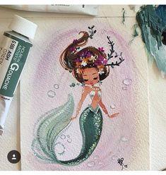 Credit to Liana Hee Mermaid Tale, Cute Mermaid, The Little Mermaid, Vintage Mermaid, Unicorns And Mermaids, Mermaids And Mermen, Fantasy Mermaids, Real Mermaids, Mermaid Drawings
