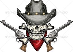Skull in Cowboy Hat — Transparent PNG #horror #cowboy • Available here → https://graphicriver.net/item/skull-in-cowboy-hat/6538690?ref=pxcr