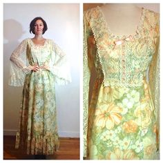 70s Prairie Dress Boho Long Floral Lace Bell by MerakiVintageShop