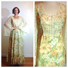 70s Prairie Dress Boho Long Floral Lace Bell by MerakiVintageShop