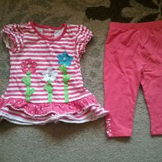 Cute size 4T matching outfit This adorable and gently used matching outfit is a size 4T. Multi colors of a salmon pink, bright neon green, light blue and white. Has polka dots and stripes. Buttons on the back.7 nannette Other
